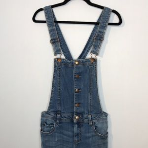 F21 buttons up distressed overalls